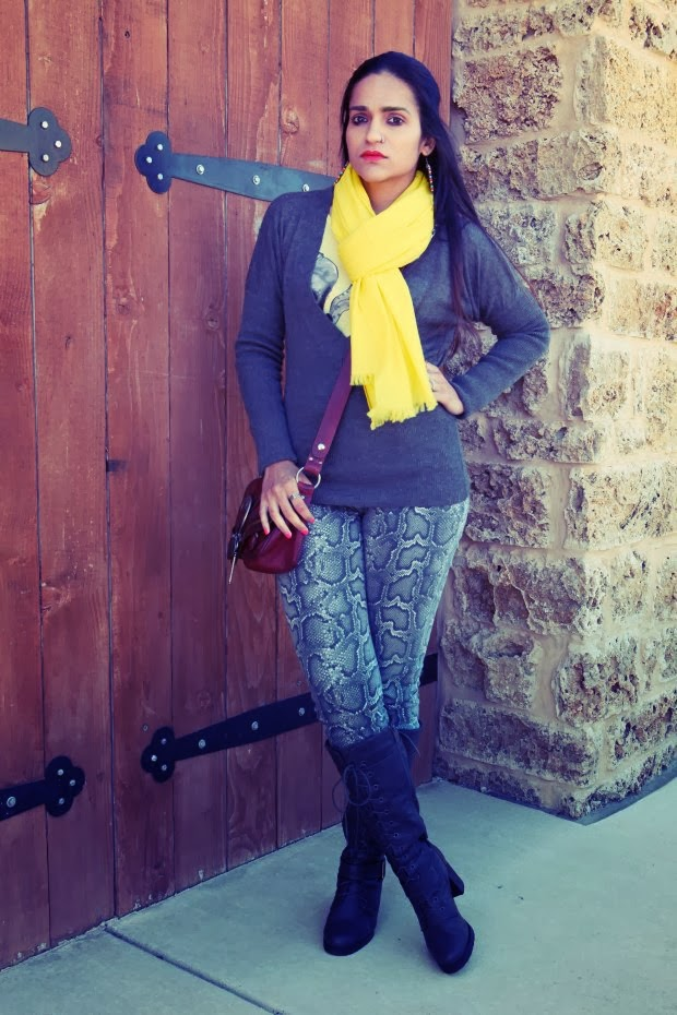 French Connection Sweater, Pashmina Shawl, Michael Kors Jeans, Wanted boots, Tanviic.com