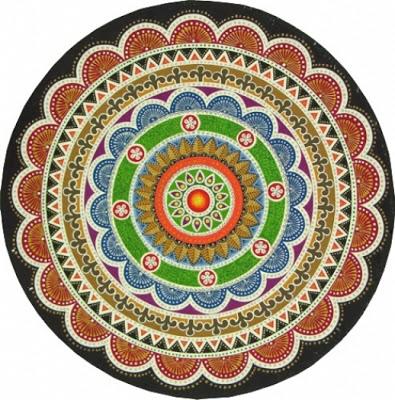 Mandala acrilica sobre ceramica