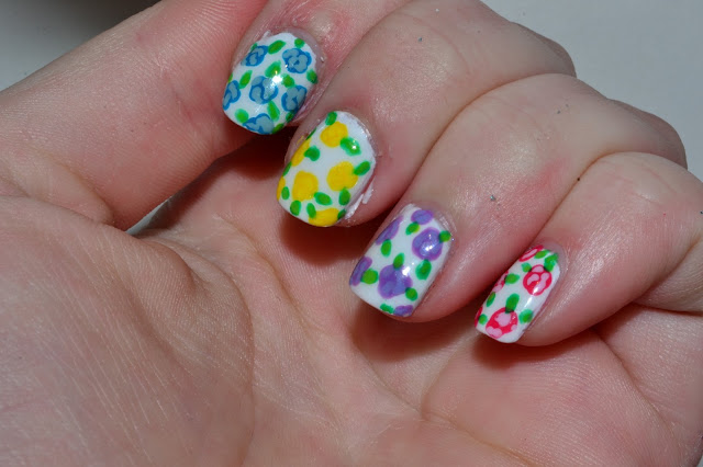 Colorful Flower Nails by Elin