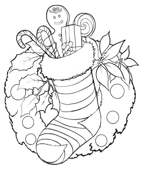 Kids Coloring Pages Disney Christmas Stocking title=