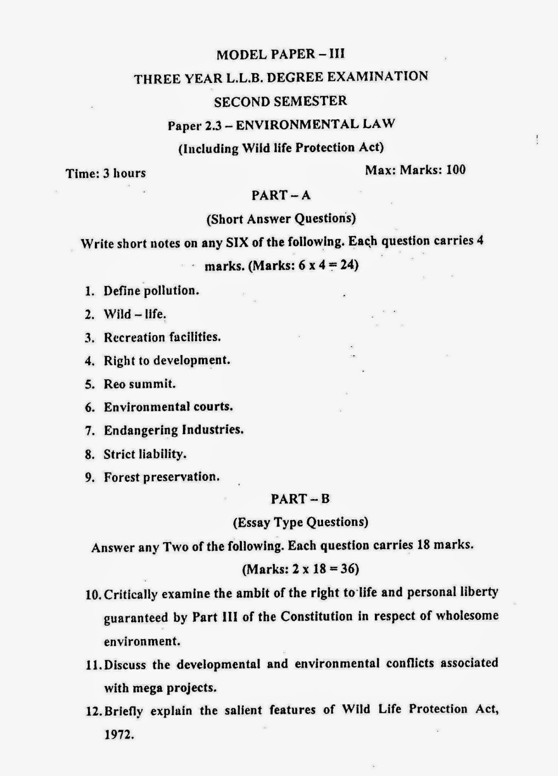 lawdetails pot in environmental law semister sv model paper 3 page 1