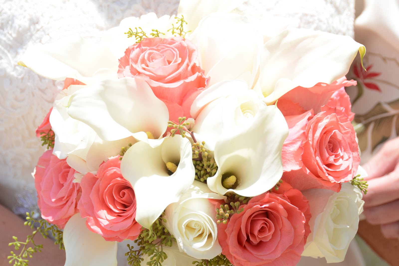 Hawaii Wedding Flowers Coral White Calla Lily Rose Bouquet