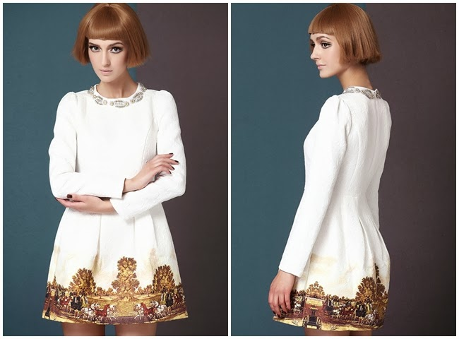 Sheinside White Long Sleeve Metal Beading Neckline Retro Print Dress