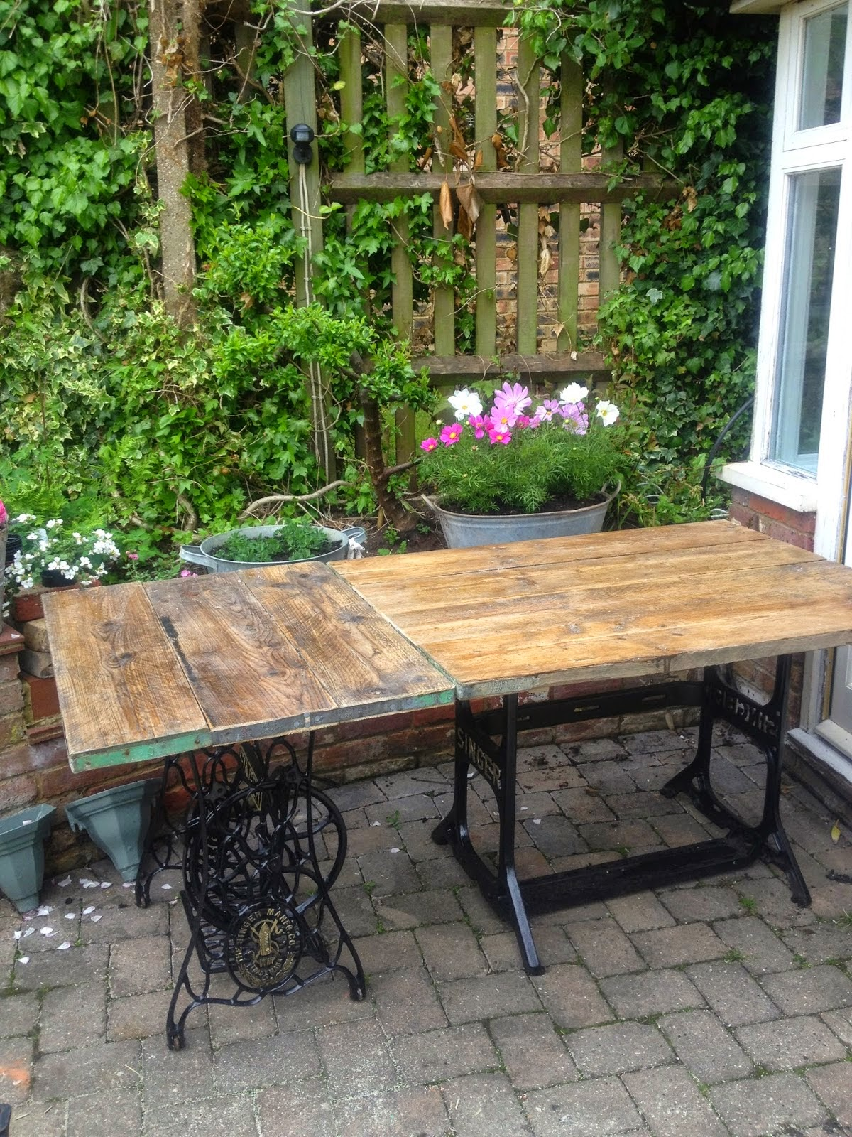 Garden Furniture Made From Scaffolding Planks makeover - diy scaffold board topped singer sewing machine tables