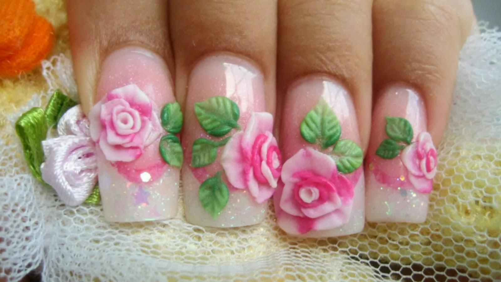 Uñas decoradas con rosas, hojas en 3d y un french blanco con brillo ...