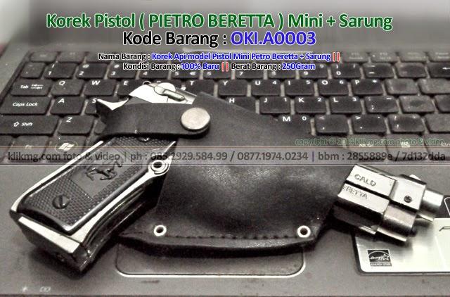 Korek Pistol ( PIETRO BERETTA ) Mini + Sarung - Kode Barang : OKI.A0003