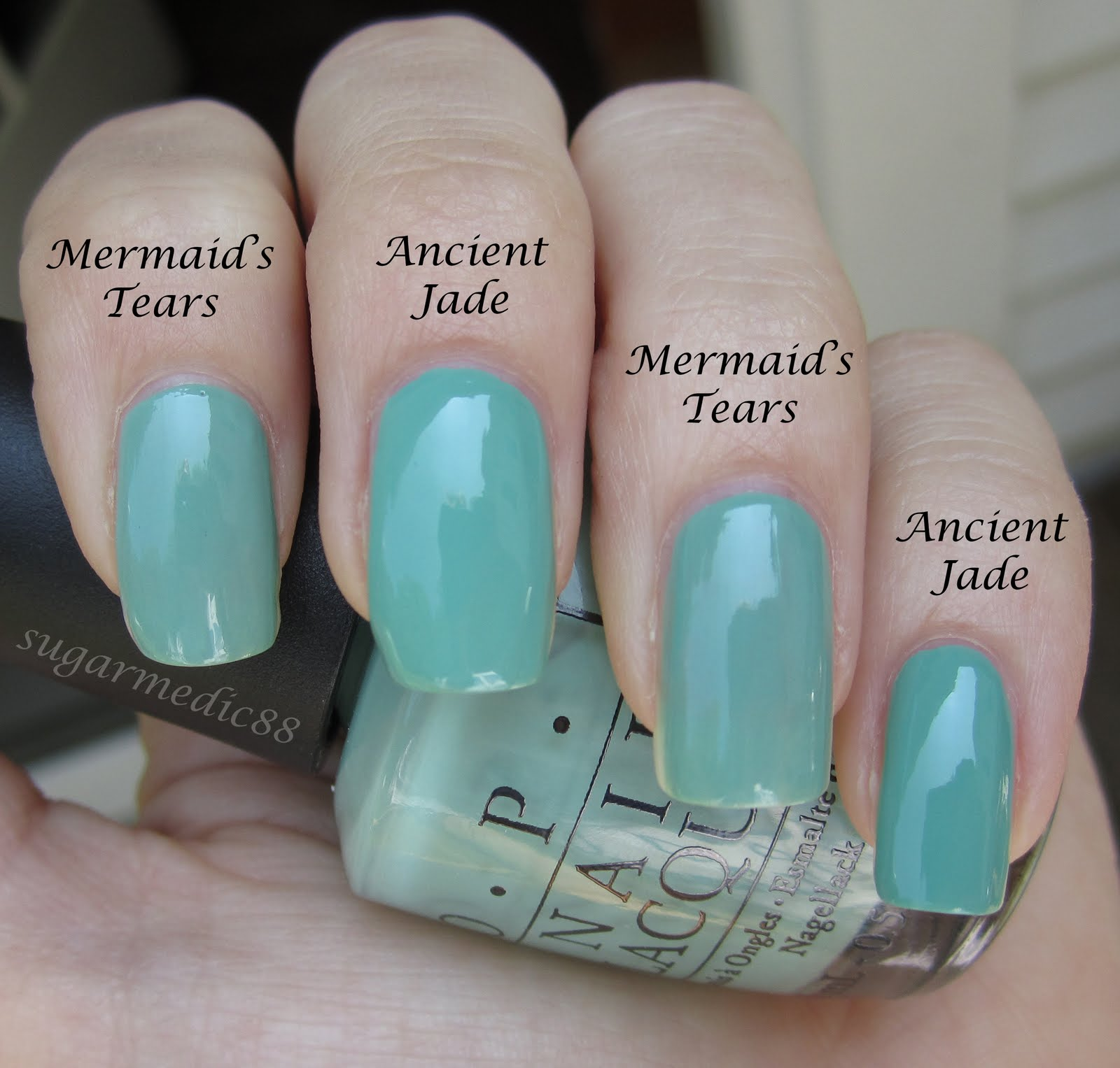The Polished Medic: Orly Ancient Jade Vs. OPI Mermaid\'s Tears Comparison