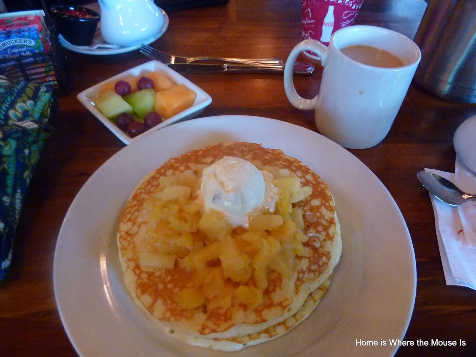 Pineapple Macadamia Nut Pancakes and Kona Coffee from Kona Cafe