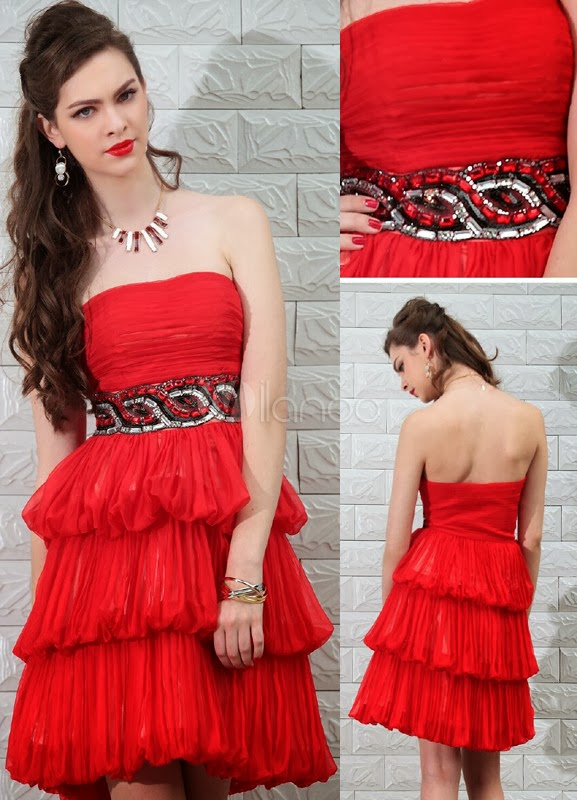 China Wholesale Clothes - Red Beading Strapless Chiffon Women'sProm Dress