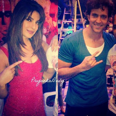 Priyanka and Hrithik on the sets of Krrish 3
