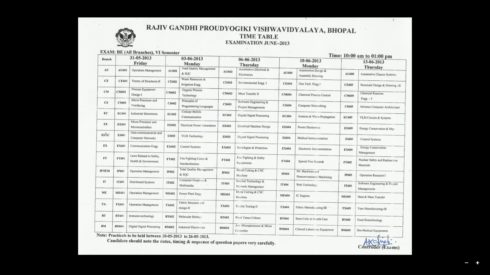 rgpv b e 6th sem exam time table rajiv gandhi