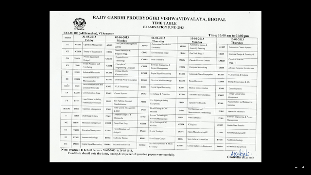 640 x for Rgpv time table 6th sem 2015