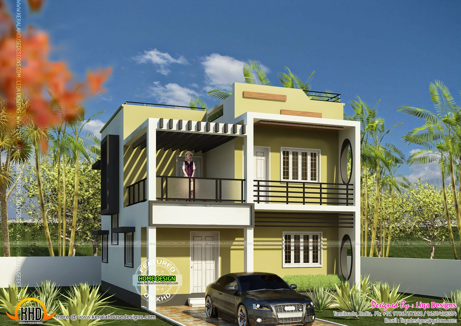 1872 square feet 4 bedroom house kerala home design for Indian house portico models