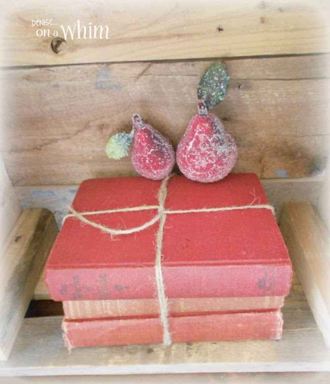 Vintage Red Books Wrapped in Twine from Denise on a Whim