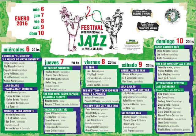 Programación del Festival Internacional de Jazz de Punta del Este 2016