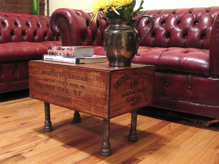 Wooden wine boxes wine crates 7 wine crate furniture ideas for Vintage wine crate coffee table