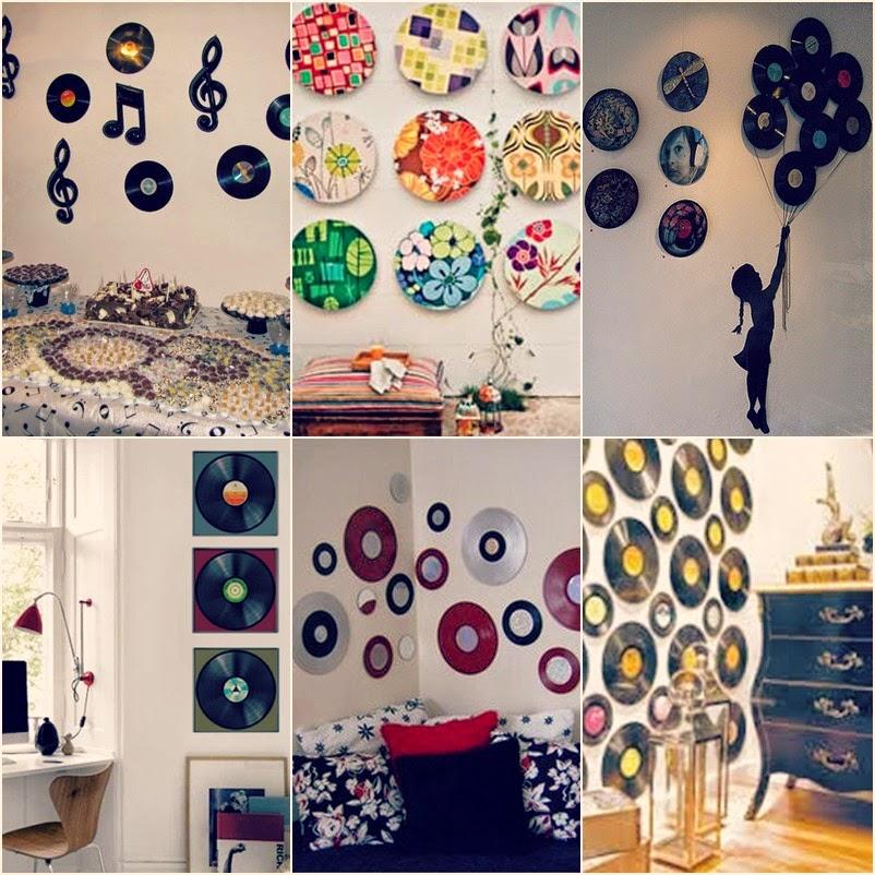 Decoração Com Cd ~ (Re)Decorando seu quarto com Disco de vinil Conversando com a Lua (Re)decorando