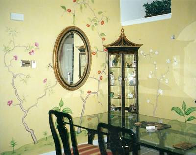 Asian Dining Room Wall Painting