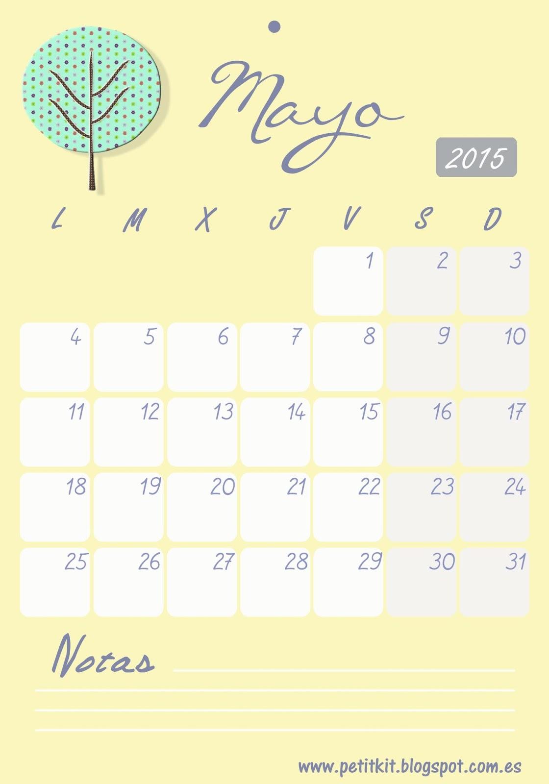 calendario imprimible mayo