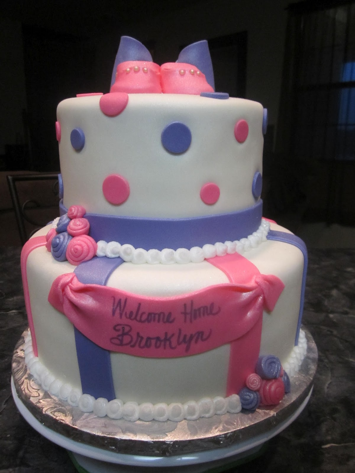 mymonicakes pink purple baby shower cake