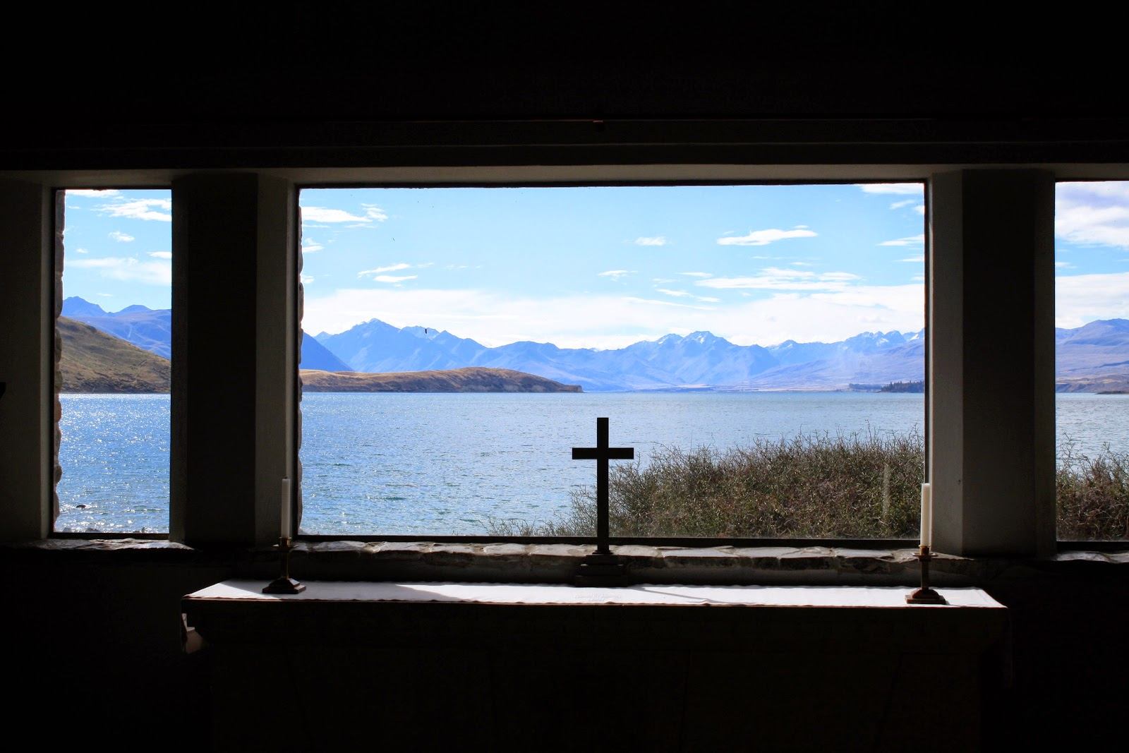 View from inside The Church of the Good Shepard at Lake Tekapo.