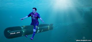 Messi cabalgando sobre Torpedo Müller