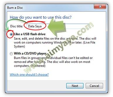 Gambar: Memberikan judul cakram dan memilih opsi penggunaan burning ke CD/DVD