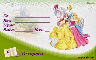 Invitaciones de Cumpleaños, Princesas Disney, modelo 3