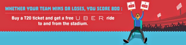 2 Free Rides for each ipl15 T20 match worth Rs 800/- Uber & Bookmyshow