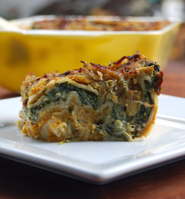 Pumpkin and Spinach vegan lasagna for two