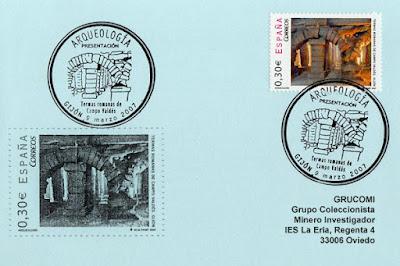 Tarjeta con el matasellos de presentación del sello de las Termas de Gijón