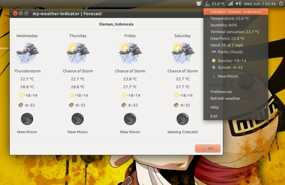 My Weather Indicator di Ubuntu 11.04 Natty Narwhal