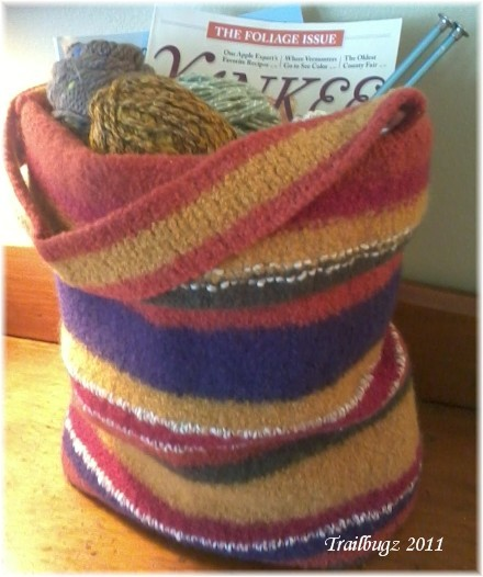 Welcome To Thistle Cottage Knitted Felted Tote Bag Purse Free