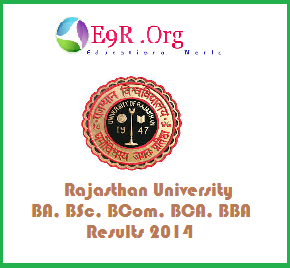 Rajasthan University 1st, 2nd, 3rd Year Sem Results 2014
