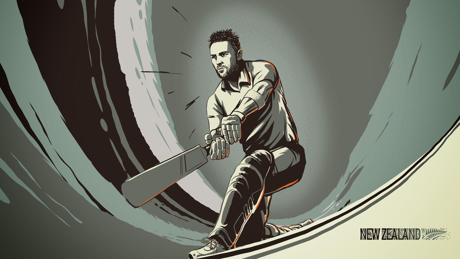 Brendon McCullum New Zealand cricketer illustration sketch