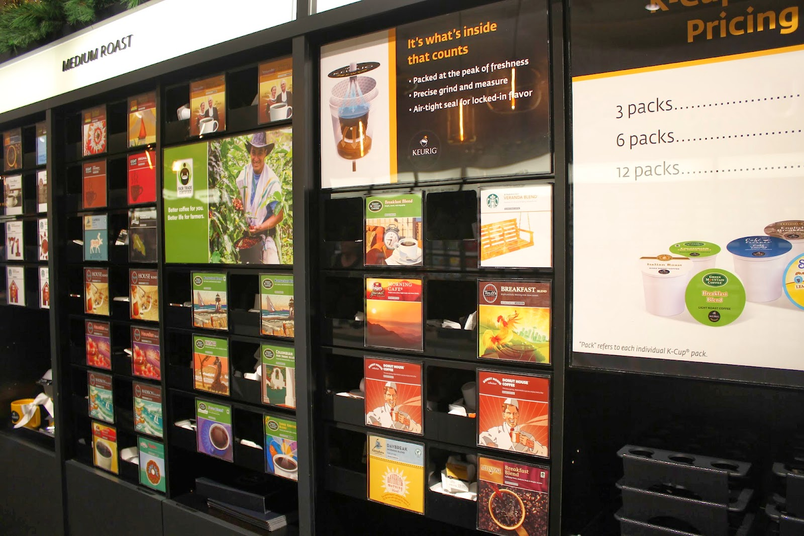 Pick-a-Pack wall at Keurig Store, Burlington, Mass.