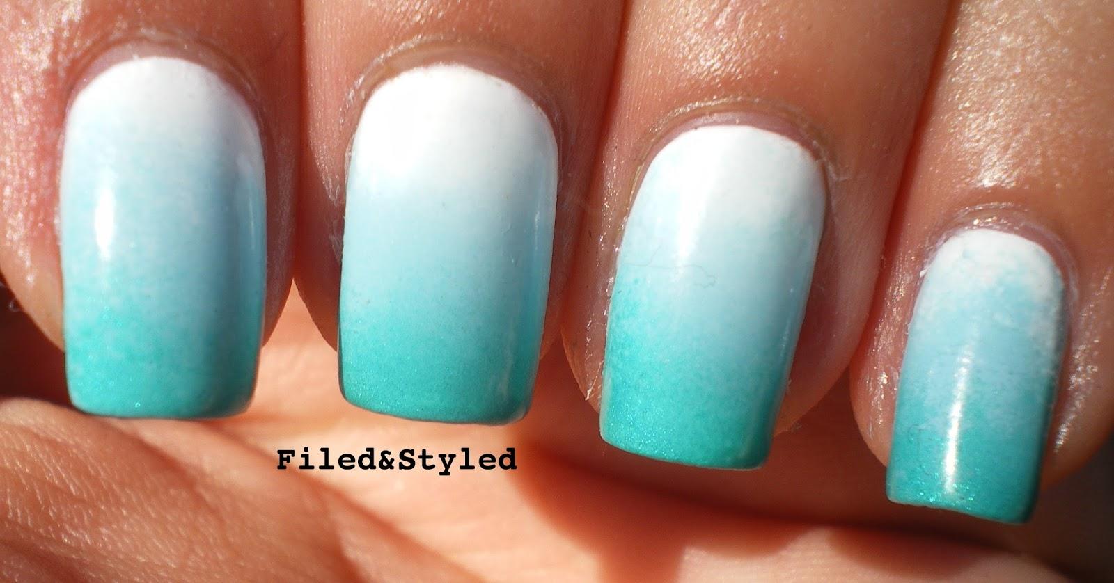 Blue Fade Nail Design ~ Nail art polka dot fade the daily varnish