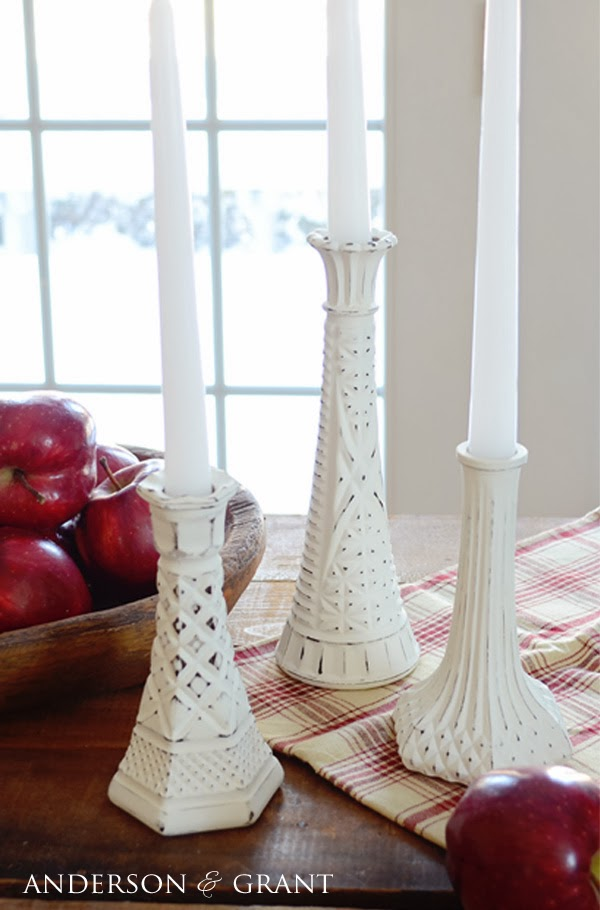 Distressed candlesticks made from Glass Bud Vases....a cheap and easy DIY | www.andersonandgrant.com