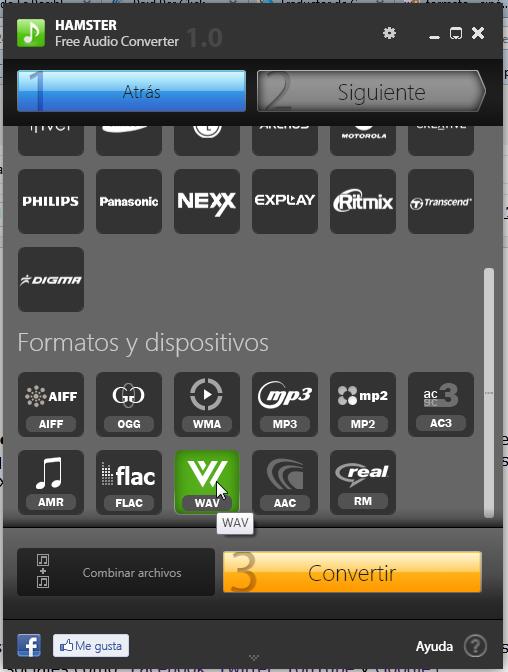 Escogiendo el tipo de formato al que convertiremos el archivo de audio