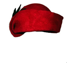 sculpted red felt cloche