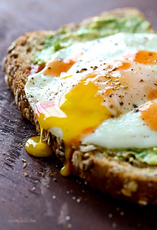 of egg sandwich! Whole grain toast with mashed avocado, a runny egg ...