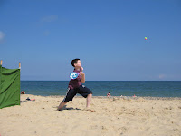 Nephew playing beach ball in 'action'