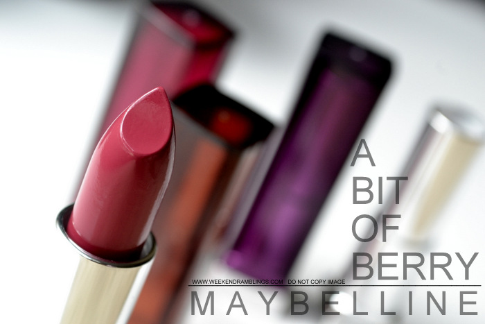 Maybelline Color Sensational Lipstick Bit of Berry Indian Darker Skin Swatches Makeup Beauty Blog Reviews FOTD Looks