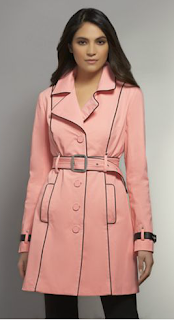 NY & Co trench coat with faux leather piping in ultimate coral