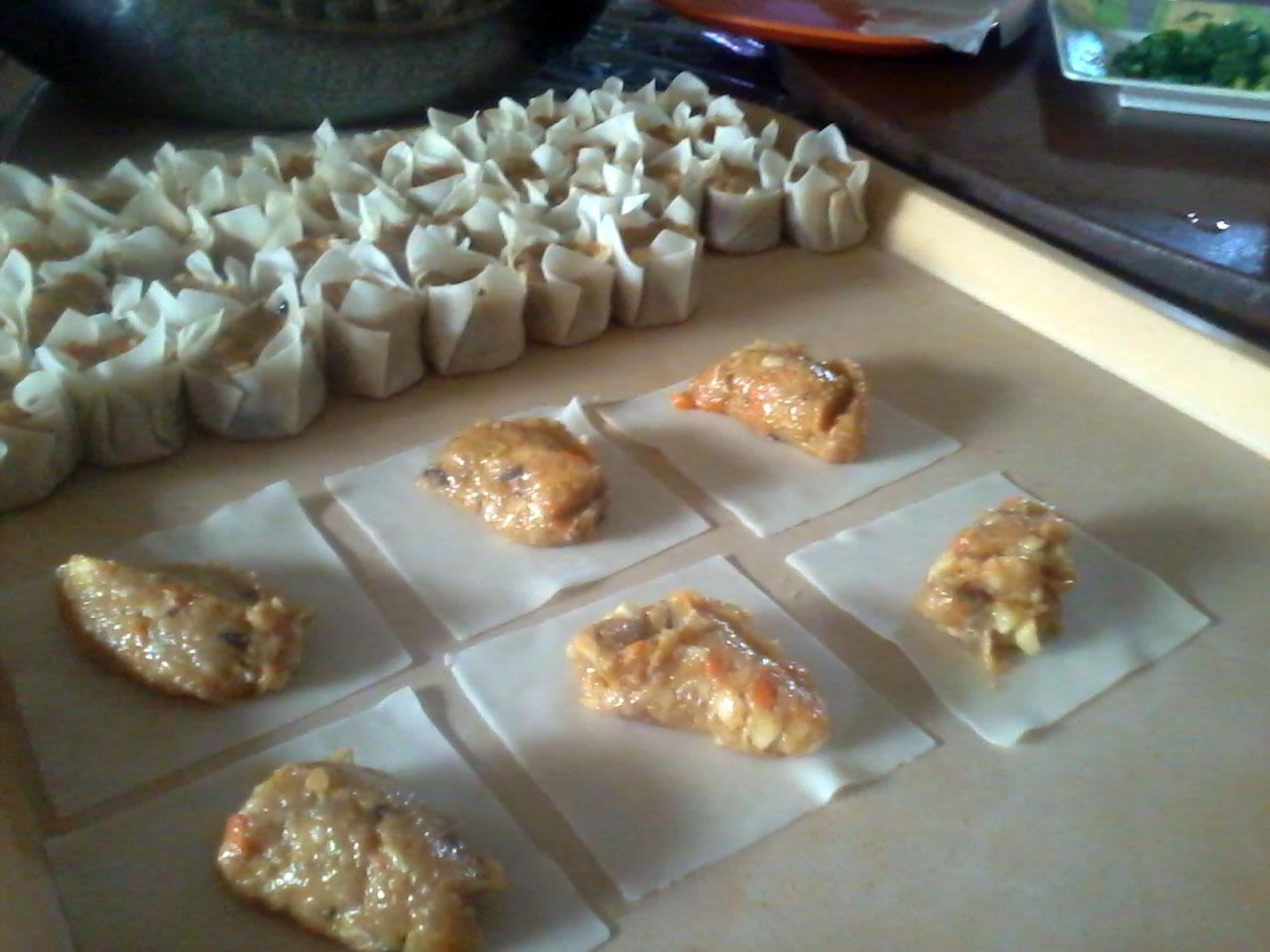 Every woman my best seller siomai recipe siomai mixture on wrappers before wrapping see wrapped siomai in the background forumfinder Image collections