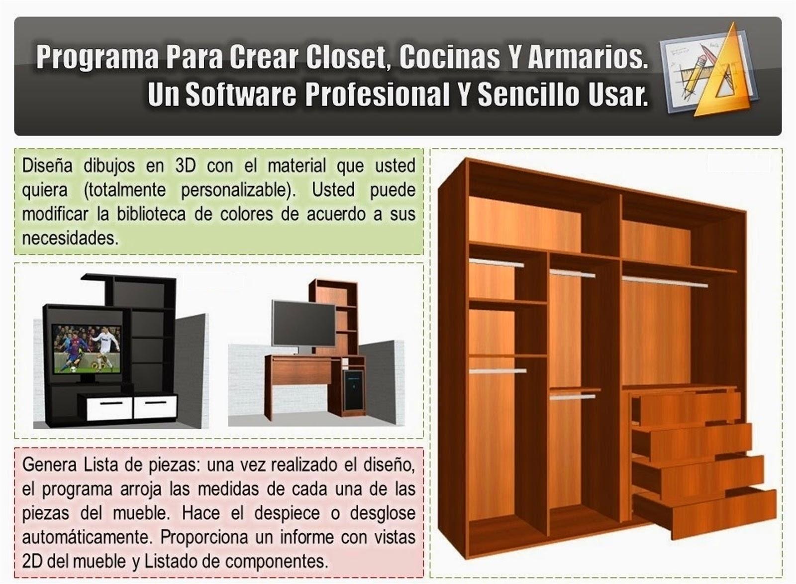 Programas para el dise o y despiece de muebles closets y for Programa de diseno de cocinas y muebles