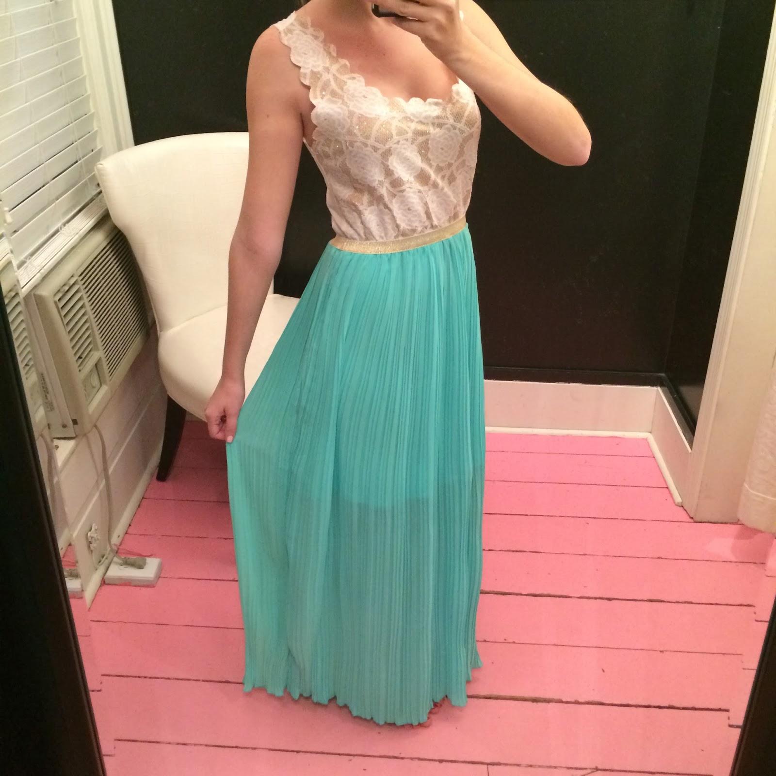 gold cream lace aqua mint maxi dress