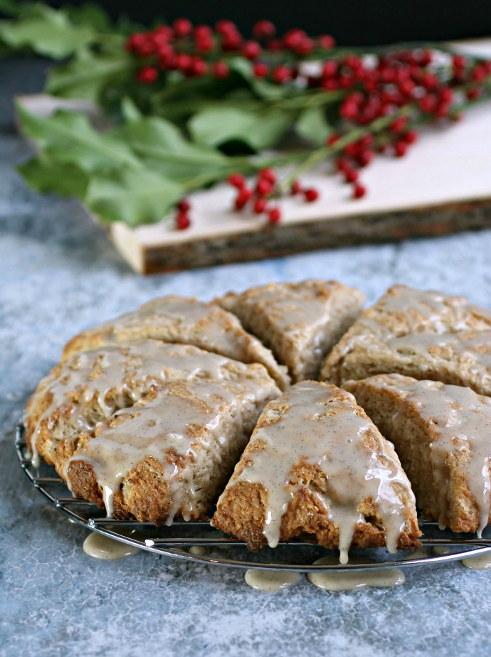 Ginger Spiced Scones with Honey Vanilla Glaze