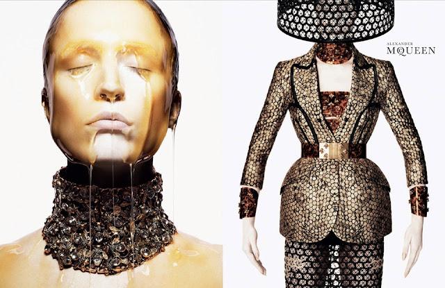 Alexander McQueen, se inspira en la miel y las abejas,  para vestir a una mujer femenina y muy sensual, esta es la propuestas de  primavera verano 2013 1