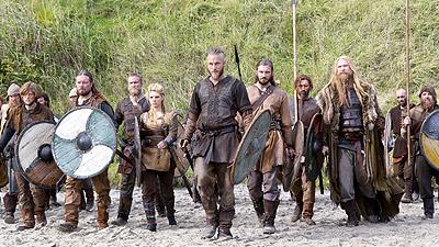 Los Vikingos en la playa de Inglaterra